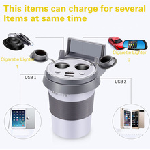 12-24V 3.1A Output Car Charger Voltage Breaker Quick Charge Dual USB Lighter Coffee Cup Shape Phone Holder Car Cigarette Lighter