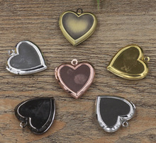 10 Pieces of 22MM New vintage patinated brass Heart Lockets Pendants(China)
