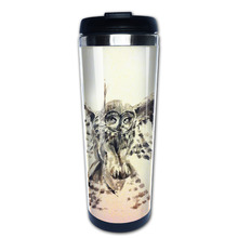 Owl painting coffee mug pretty car tazas stainless steel tumbler caneca tea Cups(China)