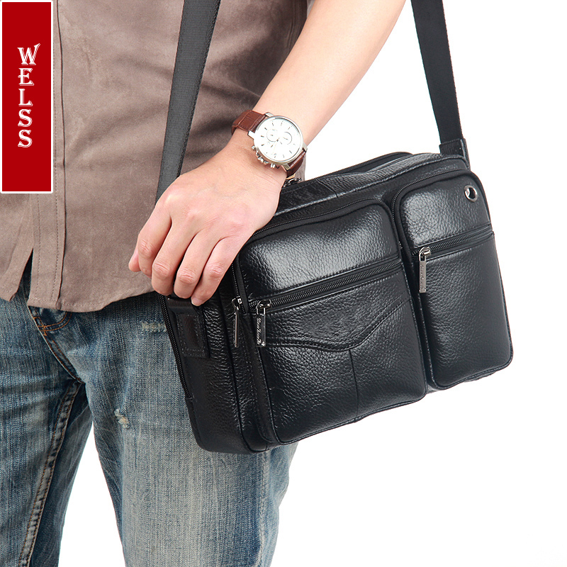 2016 New fashion mens messenger bags 100% genuine leather shoulder bags famous brand first layer cowhide crossbody bags<br>