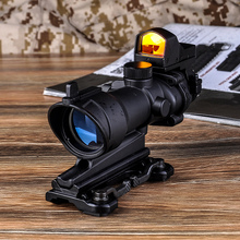 Aim O ACOG 4x32 Optical Rifle Scope and Mini Red Dot Real Red Optic Fiber Imager For hunting QD Mount 1 set AO5316