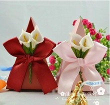 Party Supplies favor boxes gift paper bags candy boxes Europe Lily ribbon wedding candy box 100pcs/lot free shipping