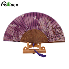Japan Silk Bamboo Handheld Folding Fans Butterfly Flower Pattern Fans Wedding Party Prom Fans Crafts Home Decor Asian Pocket Fan(China)