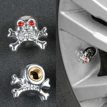 4pcs /lot Sliver Universal Fancy Pirate Skull Tire Tyre Air Valve Stem Caps for Auto Car Truck Motorcycle Bike Wheel Rims