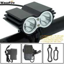 WasaFire Cycling Waterproof LED Bicycle Front Light 2x XM-L T6 flashlights lamps farol bike with 6400mA Battery Pack(China)