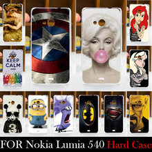 For Microsoft Nokia Lumia 540 Case Hard Plastic Mobile Phone Cover Case DIY Color Paitn Cellphone Bag Shell  Shipping Free