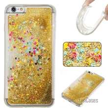 Coque Bling Love Heart Stars Soft TPU Phone Case Cover For iPhone 6 Plus Funda Quicksand Cell Phone Case For iPhone 6S Plus AJAX