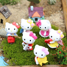 6pcs/lot 2*3cm Lovely Hello Kitty Cat Miniature Figurines Toys Model Kids Toys PVC Japanese Anime Children Action Figure Toys