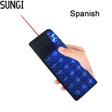 Spanish Mini T11 Wireless Keyboard 2.4G Air Mouse Presenter Touchpad Keyboards Remote Laser Pointer For Tablet PC/Android TV Box