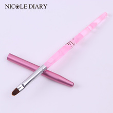 1Pc Nail Art UV Gel Brush Pen With Cap Pink NO.6 UV Gel Nail Art Manicure Tool 8313439(China)