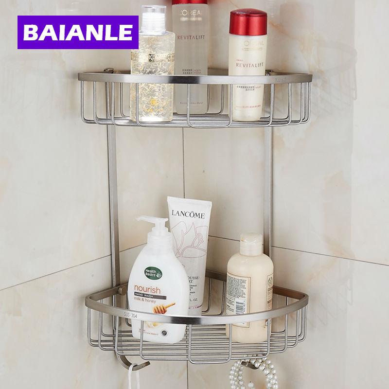 Stainless Steel Single &amp; Double bathroom accessories shelf bathroom basket single tier big basket Double Bathroom Shelves<br><br>Aliexpress