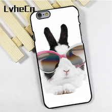LvheCn phone case cover fit for iPhone 4 4s 5 5s 5c SE 6 6s 7 8 plus X ipod touch 4 5 6 Bunny Rabbit With Glasses(China)