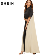 SHEIN Casual Dress Full Sleeve Dresses Ladies Summer Black and Camel Color Block Mock Neck Short Sleeve Maxi Tent Dress(China)