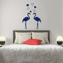 DCTOP Two Red-Crowned Cranes Wall Stickers Home Decor Vinyl Art Love Hearts Wall Decals Decoration Bedroom