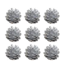 9Pcs 4cm Christmas Tree Pine Cones Pinecone Hanging Ball Holiday Xmas New Year Party Ornament For Home Festival