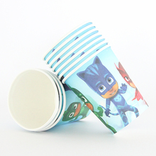 10pcs/lot Pj Mask Theme Paper Cup Drink Boy Girl Baby Happy Birthday Party Decoration Kids Supplies Favors(China)