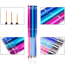 7/9/11mm Painting Flower Drawing Line Pen Brush Crystal Rhinestone Metal Acrylic UV Gel Polish Tip Design Tool Nail Art Manicure