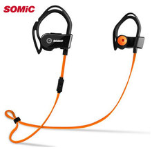 Original SOMIC S3 Intelligent Heart Rate Monitor Sport HIFI Wireless Bluetooth Earphone With Mic Ear Hook Headset One To Two(China)