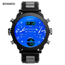 men sports watches BOAMIGO brand men watches 3 time zone rubber LED digital watch military quartz wristwatches gift box F905(China)