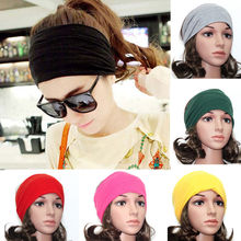 Women Wide Stretch Headband Turban Exercise Cotton Head Wrap Headwear Hair Accessories Band 6 Colors Drop Free(China)