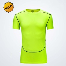 Summer 2017 Outdoors Pro Skinny Thermal Muscle Bodybuilding Base Layer Tops Crossfit Tight Fitness Green Short sleeve tshirt men(China)