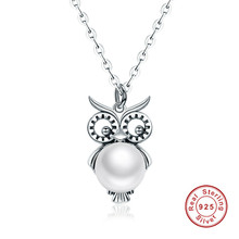 Cute Owl Natural Freshwater Pearls Pendants Necklace For Women 925 Sterling Silver Jewelry(China)