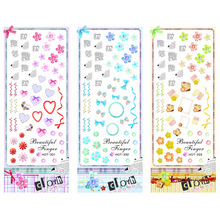 3 PACKS / LOT TEXTILE FABRIC FLOWER HEART NAIL CROSS TATTOOS STICKER WATER DECAL NAIL ART HOT331-333(China)