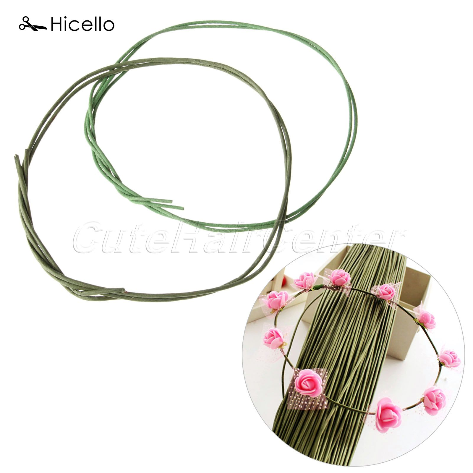 Paper covered craft wire - Hicello 10pcs Lot Flower Stub Stems Paper Plastic Green Floral Tape Iron Wire Artificial Flower Stub Stems Craft Decor 60cm