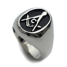 Silver & Black Free Mason Ring - Freemasonry College Style Stainless Steel Mens Masonic Rings