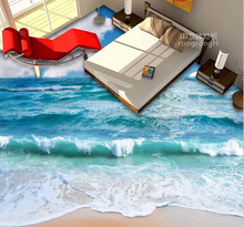 Customized Waterproof PVC Wallpaper 3D Flooring Wallpaper Sea And Sky Design Living room Bedroom Floor Wallpaper(China)