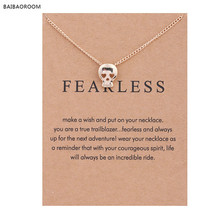 New Gold-color Fearless Skull Head Alloy Clavicle Snake Bone Pendant Short Necklace(China)