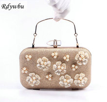 Rdywbu NEW Luxury 3D Flower Petal Ring Diamond Wedding Pearl Chain Clutches Party Purse Bridal Phone Handbag Soiree Bolsos H90