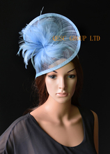 2017 NEW 20 colors PALE BLUE Feather sinamay fascinator for melbourne cup,ascot races,kentucky derby,party,wedding.(China)