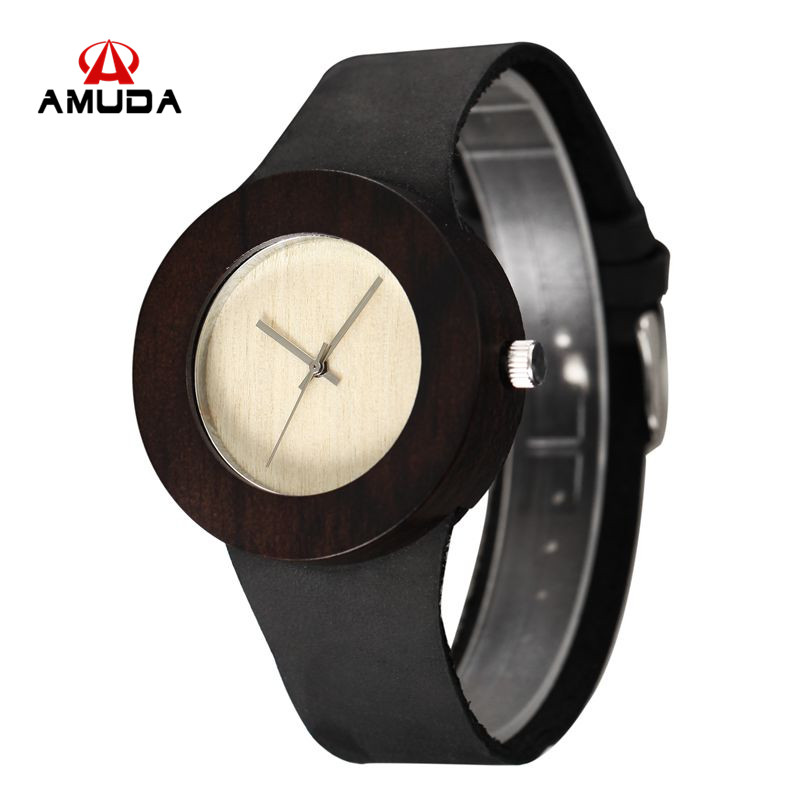 2016 New Natural Black Ebony Wood Watch with Genuine *