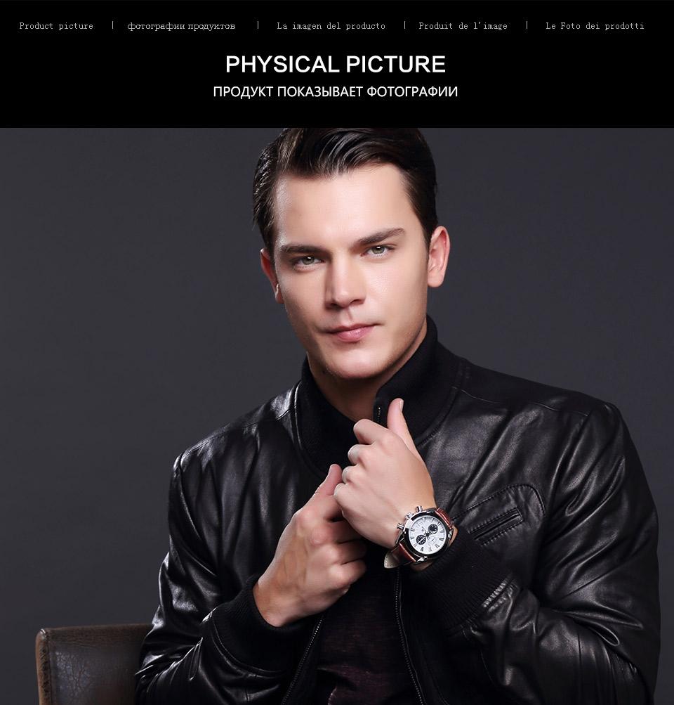 Baogela Mens Chronograph Luminous Hands Date Indicator Fashion Causal Leather Strap Sport Quartz Wrist Watches 7