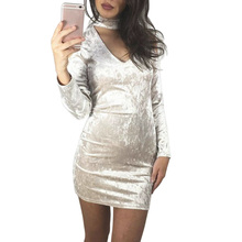 Women Pencil Dress Long Sleeve Bodycon Party Dress Beige Velvet Stylish Breathable Beautiful Dress Women Clothing