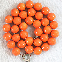High grade artificial orange coral 8mm 10mm 12mm 14mm round beads diy chain necklace for women weddings party gift 18inch B638