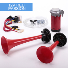 Red color car horns twin air horn 12V super loud whistle motorcycle air horns can choose the color can be customized