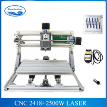 CNC 2418+2500mw laser GRBL control Diy laser engraving ER11 CNC machine,3 Axis pcb Milling machine,Wood Router+2.5w laser(China)