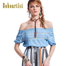Bohoartist Ladies Hollow Tops Slim Lantern Sleeve Slash Neck Off-The-Shoulder Clothing Sale Summer Fashion Casual Tube Blouses(China)