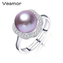 VEAMOR 2016 Statement Trendy Jewelry 925 Sterling Silver Engagement Rings For Women Pearl Rings With Top Quality Gift Box R053(China)