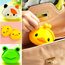2016 New Fashion Lovely Kawaii Candy Color Cartoon Animal Women Girls Wallet Multicolor Jelly Silicone Coin Bag Purse Kid Gift(China)