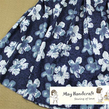 50x140cm Soft Linen Cotton Fabric Blue Flowers Printed Fabrics to Sew Garments Dress Curtain Decorations  Tissue 1Pcs/Lot