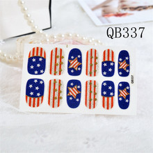 Unique America nail Wraps Stickers USA Flags Designs star printed Waterproof Nail Arts Polish Gel Foils Nail Patch