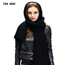 Leo anvi knit long scarf women winter crochet bandana more color solid wrap neckerchief fashion men scarf shawls and wraps