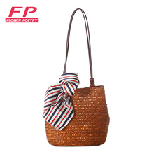 2016 New Vintage Women Handbag Fashion Shopping Tote Beach Bag Vintage Casual Bucket Straw Tote Bag Summer Shoulder Bag