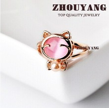 BBR330 Cat's Eye Stone Imitation Pearl Cute Cat Ring Rose Gold Color Made with Genuine Austrian Crystals Wholesale R059