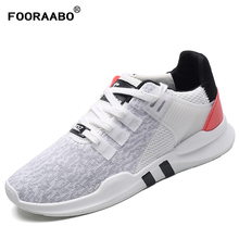 Fooraabo New Men's Casual Shoes Lace up Fashion brand Mesh Spring Summer Walking Shoes Flats Solid Men Breathable Shoes Man