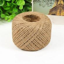 2mm 50M Twisted Burlap Natural Fiber Jute Twine Rope Cord String Craft Ribbon DIY Gift Decor