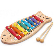 Factory direct sale Wooden cartoon fish 8 tone music steel children's music to knock the piano Toy Musical Instrument